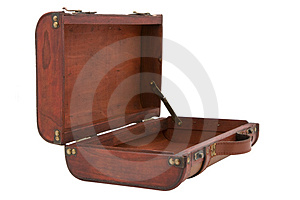 Vintage Wooden Suitcase Open on White Background Royalty Free Stock Image