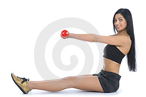 Beautiful Girl With Dumbbells Royalty Free Stock Photos - Image: 4136728