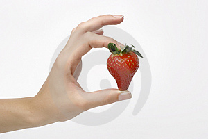 Strawberry In Fingers Stock Image - Image: 4140391