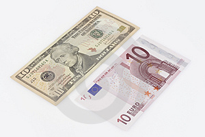 Euros And Dollars Royalty Free Stock Image - Image: 4140636