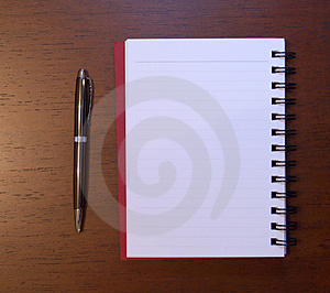 Open notebook with pen Stock Photos