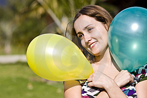 Beauty With Balloons Royalty Free Stock Photo - Image: 4156345