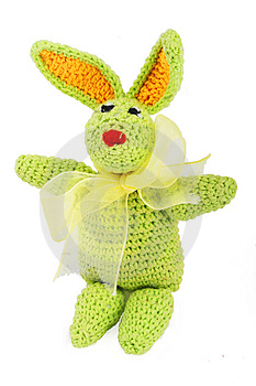 Green Easter Bunny With Gold Bow Royalty Free Stock Photo - Image: 4160735