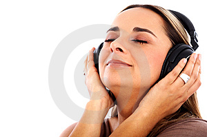 Listening Music On Headphones Stock Photography - Image: 4162612