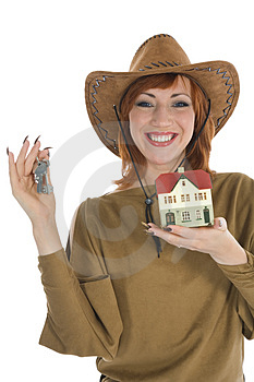 Business Woman Advertises Real Estate Royalty Free Stock Photo - Image: 4163455