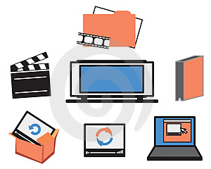 Video Media Icons Stock Photography