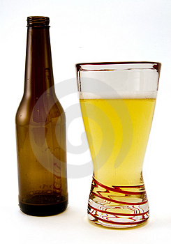 Beer Bottle and Glass Stock Photos