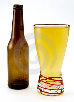 Beer Bottle and Glass Stock Image