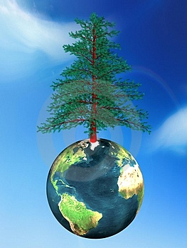 Tree And Globe Stock Photo - Image: 4172730