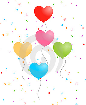 Hearts balloons with confetti Stock Images