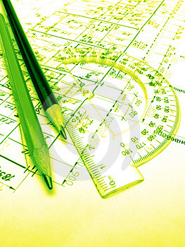 Pencils, Protractor And Drawings Stock Image - Image: 4187491