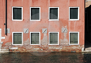 Venice, Windows - Water Front Facade Stock Image - Image: 4187711