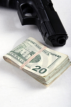 Gun And Money Royalty Free Stock Photos - Image: 4190248