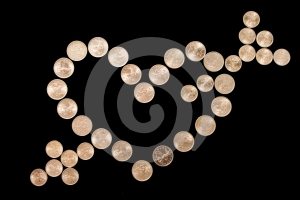 Heart Sign From Coin Stock Photos - Image: 426363