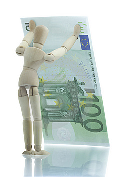 Manikin Holds Falling Euro Bill Stock Photography - Image: 4204102