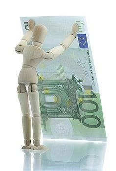 Manikin Holds Falling Euro Bill Stock Photography - Image: 4204102