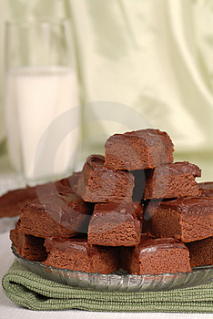 Plate of chocolate brownies with a glass of milk Royalty Free Stock Photo