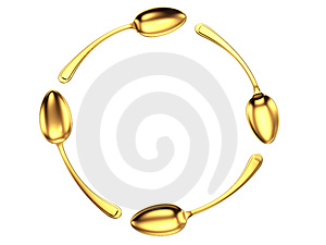Gold Spoon Circle Stock Photography - Image: 4204992