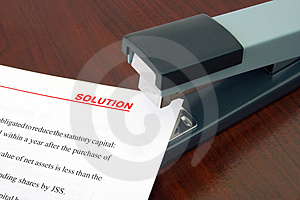 Office stapler and document Solution Stock Image