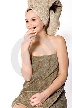 Young Girl Eating A Mandarin Royalty Free Stock Photo - Image: 4222205