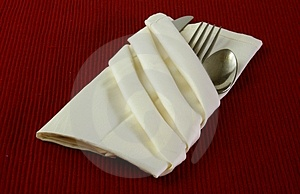 Silverware In Napkin Royalty Free Stock Image - Image: 4223286