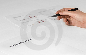 Business plan with hand Stock Photo