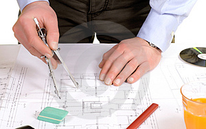 Architect work with blue print Royalty Free Stock Images