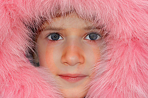 Pink Portrait Of A Nice Young Girl. Stock Photography - Image: 4234882