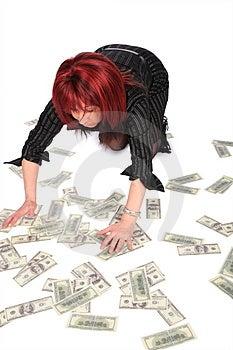 Woman Gathering Dollars Royalty Free Stock Image - Image: 4235226