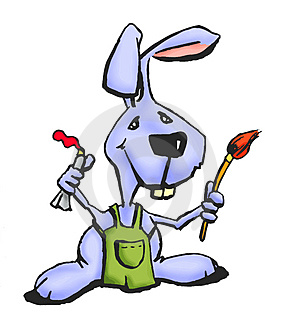 Painter Bunny Royalty Free Stock Image - Image: 4239886