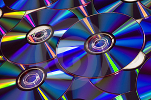 Several DVD Discs In Blue Tint Stock Images - Image: 4242974