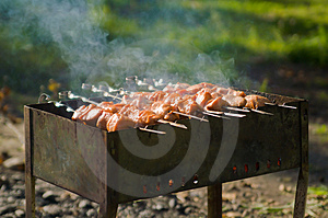 Shashlik On Nature Stock Photos - Image: 4243183