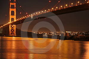 Golden Gate Bridge Golden Night Light