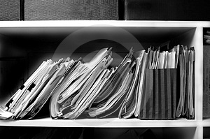 Files on Shelf Stock Image