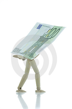 Manikin Carrying Hundred Euro Bill Royalty Free Stock Images - Image: 4267159