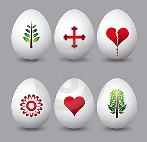 Six Easter Eggs, Vector Royalty Free Stock Photography - Image: 4276037