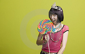 Young Punk Woman With A Big Lollipop Stock Image - Image: 4281561