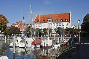 Sailing Boats Moored At Lindau Royalty Free Stock Image - Image: 4299446