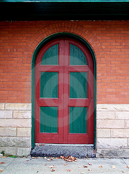 Green and red door. Stock Photos