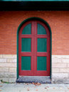 Green and red door.
