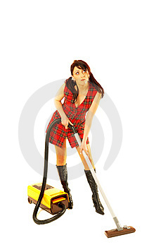 Woman with cleaner