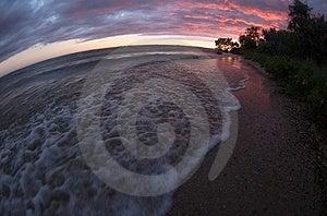 Sea Sunset Fisheye View Royalty Free Stock Image - Image: 4310356