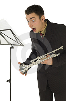 Suprised Trumpeter Royalty Free Stock Photo - Image: 4314805