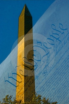 Washinton Monument With Constitution Stock Image - Image: 4325751