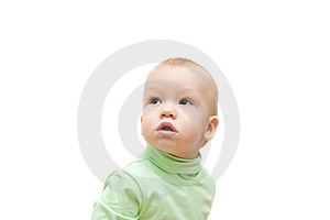 Little Boy With Interest Look At Left Corner Stock Photo - Image: 4338360