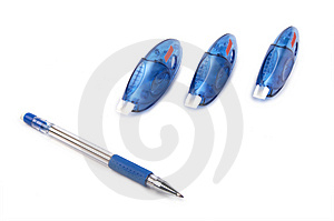 Three Pen Correctors And Pen Royalty Free Stock Photo - Image: 4345295