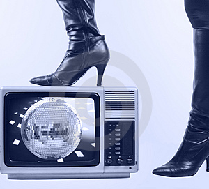 Boot and tv Stock Photo