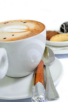 Cappuccino With Chinamon Stick Stock Photography - Image: 4358312