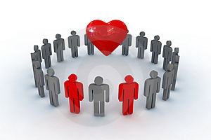 People in circle with heart symbol Royalty Free Stock Images