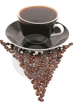 The Black Cup With Fragrant Coffee Costs On A Tabl Royalty Free Stock Photos - Image: 4359978